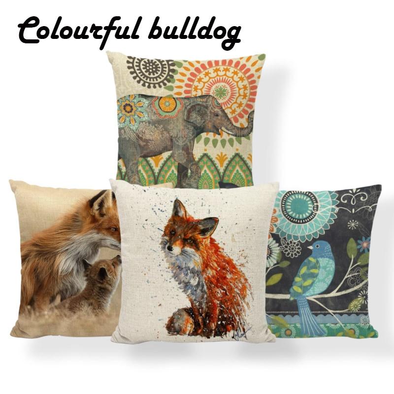 Alpaca Fox Elephant Owl Cushions Animal Mandala Orangutan Pillow Mid Century Modern Dorm Gift Throw Pillow 45X45Cm Linen Warm
