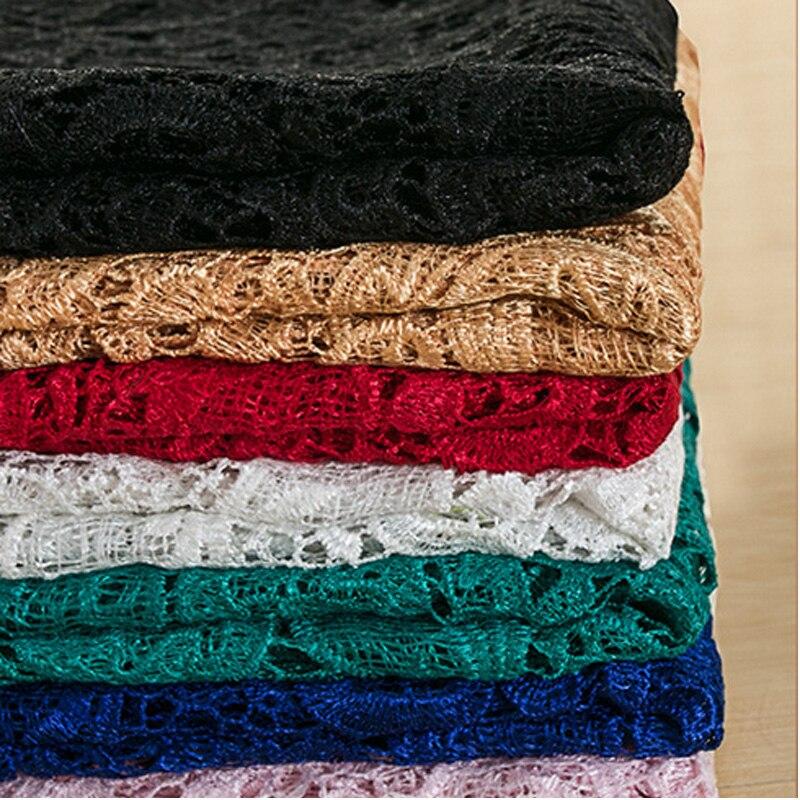 Вышивка выдалбливают кружевной ткани DIY женский рубашка платье ткань и занавес ширина 1,2 м * длина 1 м R146