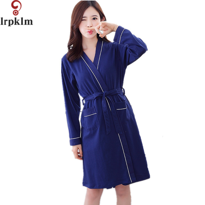 Brand Womens Robe Print Cotton Bathrobes Spring Summer -1837