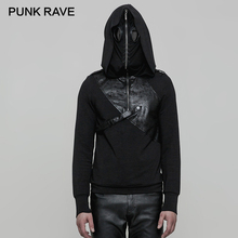 PUNK RAVE Mens Hooded Steampunk Rock Double Hats Pullover Mask Cotton with PU Leather Belts Hip Hop