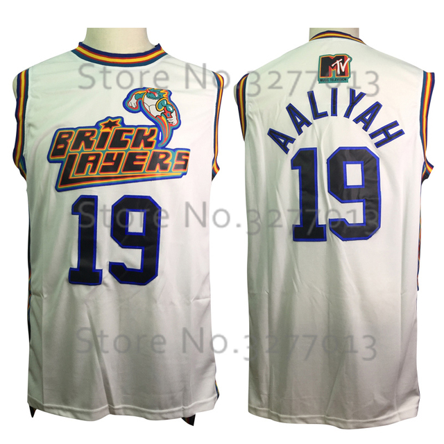 e237d6e5d 2018 Wholesale Retro Basket Movie Jerseys #19 Aaliyah Bricklayers 1996 MTV  Rock N Jock Jersey Stitched White Shirts for Mens
