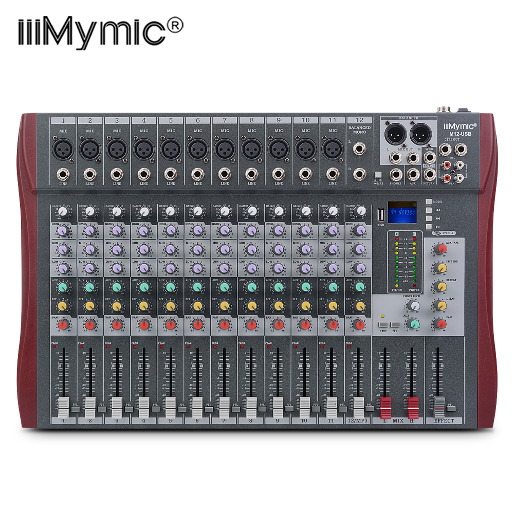 M12 USB Professional Sound Audio Mixer 12 Channel 48V Phantom Power Reverb FX DJ Mixing Console