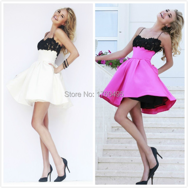 96f4b55f781 Cute Lace Spaghetti Straps Short Homecoming Dress Black White 8th Grade  Junior Formal Graduation Dresses