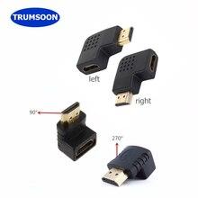 Trumsoon HDMI Macho para HDMI Fêmea Cabo Adaptador Conversor de Orientar 90 270 Graus de Ângulo 1080 p para HDTV PC Monitor projetor