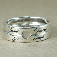 63eadabbf8 Retro Style Steel Custom Love Couple Rings sterling silver jewelry ,  Engrave Name ,father's Day