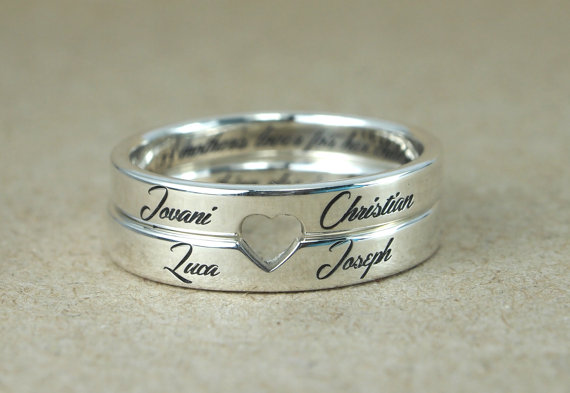 Retro Style Steel Custom Love Couple Rings sterling silver jewelry , Engrave Name ,father's Day men Gifts,Romatic Personalized