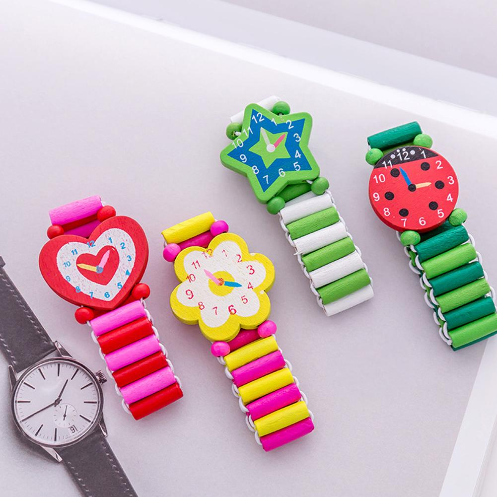 New Colorful Heart Star Flower Kids Wooden Bracelet Watch Elastic Wristband Toy