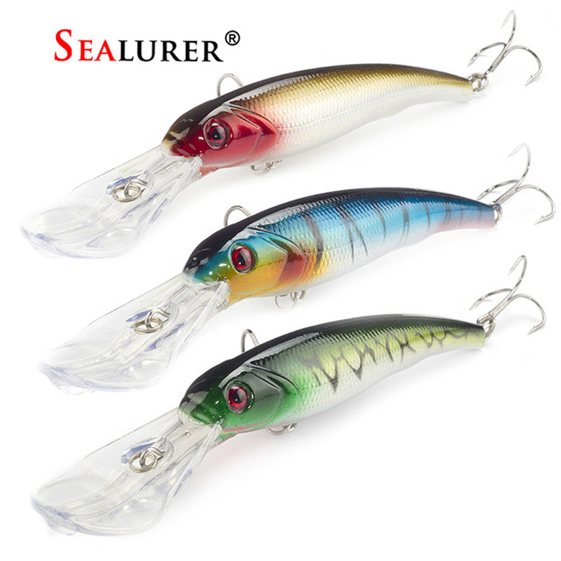 3PCS/Lot SEALURER Fishing Lure Big Float Minnow Artificial Plastic Deep Diver Hard Baits 3D Eyes Crankbait with 2 Treble Hooks lifelike minnow fishing lure 1pcs 9 5cm 11 2g high quality treble hook artificial hard bait treble hook crankbait with 3d eyes