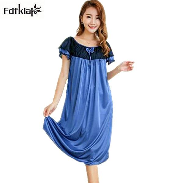 2017 new sexy lingerie sleepwear plus size summer dress nightgown female long women nightdress faux silk nightwear A424