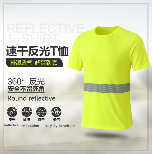 High visibility Breathable fluorescent mesh reflective T-shirt round collar traffic police safety warning overalls