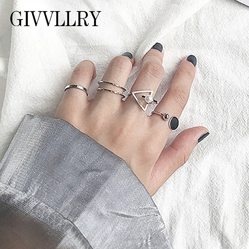 GIVVLLRY Triangle Rings Knuckle Geometric Midi Minimalist Silver-Color Vintage Women