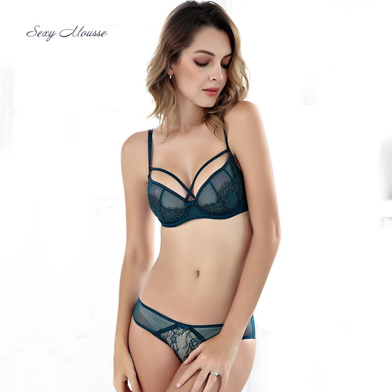 Sexy Mousse 3/4 cup Lace Breathable transparent bras solid Green Purple Red bra elegant Women underwear set