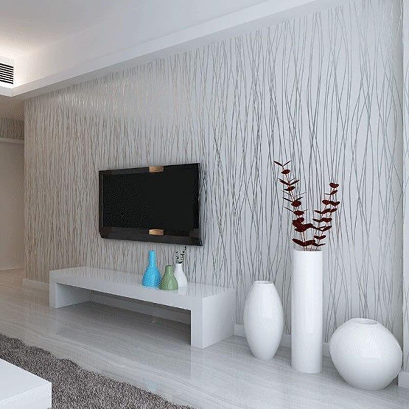 Fashion 10M Non Woven Flocking Vertical Stripe Wallpaper Rolls For ...