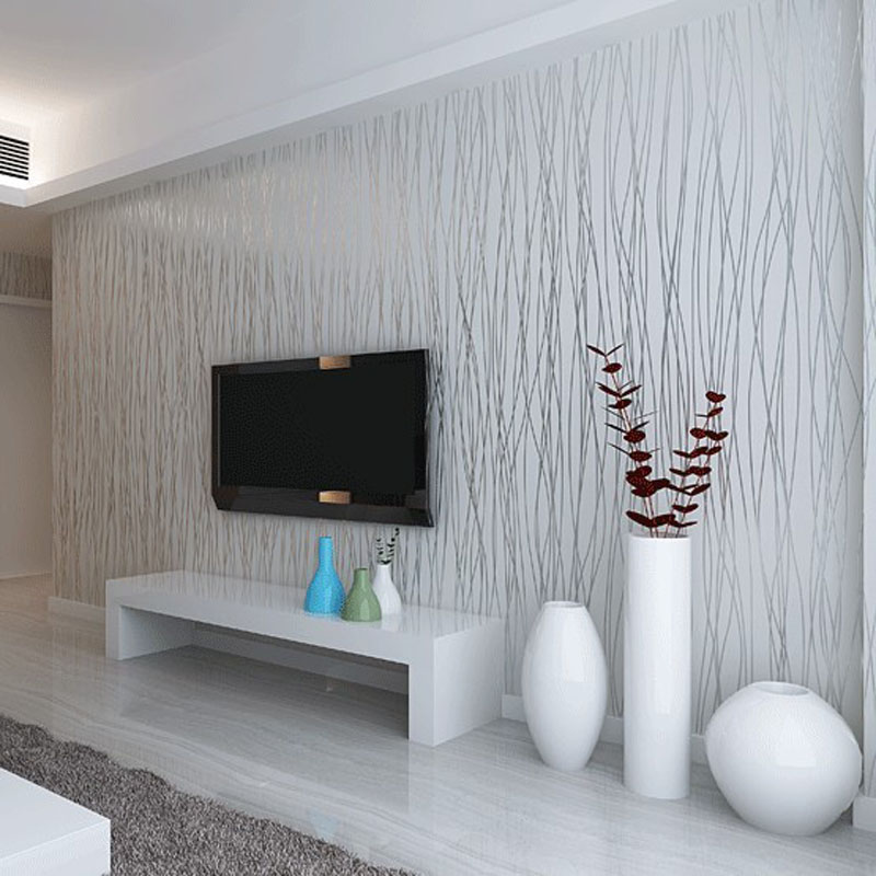 One Bedroom Living Room: Fashion 10M Non Woven Flocking Vertical Stripe Wallpaper