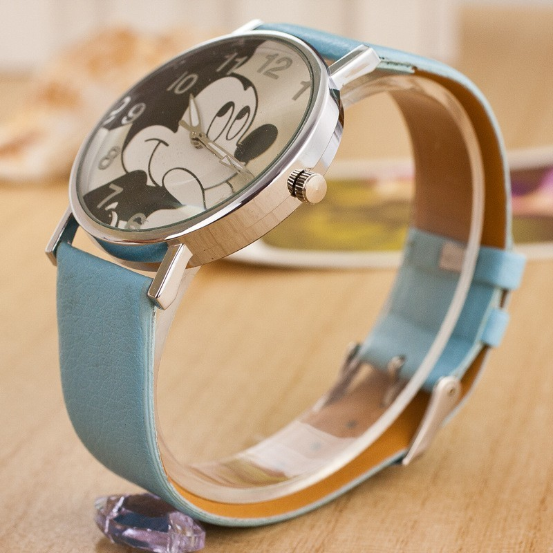 2017 Fashion Minnie Women Watch Boy Girl Cartoon Watches Unisex Quartz Watch Student Famale Imitation Pu Leather Holiday Gifts Watches