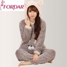 068018dbdd Cute Bear Women Sleepwear Pajamas Sets Animal Thicken Velvet Hooded Pajamas  Home Wear Two Pcs Set