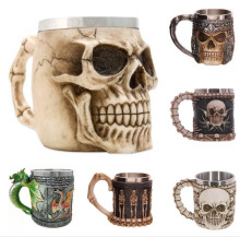 Stainless Steel 3D Skull Resin Beer Mug