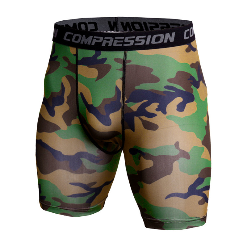 Men Bodybuilding Skinny Shorts Compression Camouflage Polyester Tights Short Pants Male Jogger Gyms Fitness Crossfit Sportswear