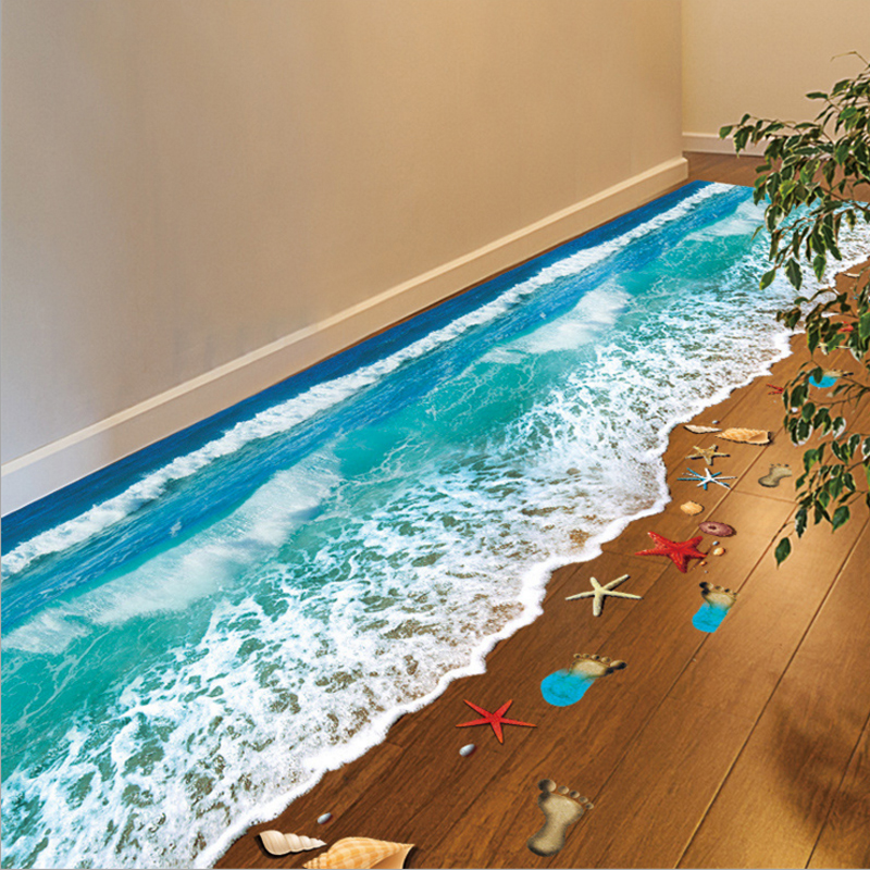 2016 Top Selling Creative 3D Wall Stickers Starfish Footprint Beach Bathroom Floor Sticker Sea Vinilos Paredes