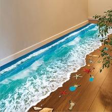 2016 Top Selling Creative 3D Wall Stickers Starfish Footprint Beach Bathroom Floor Sticker Sea font b