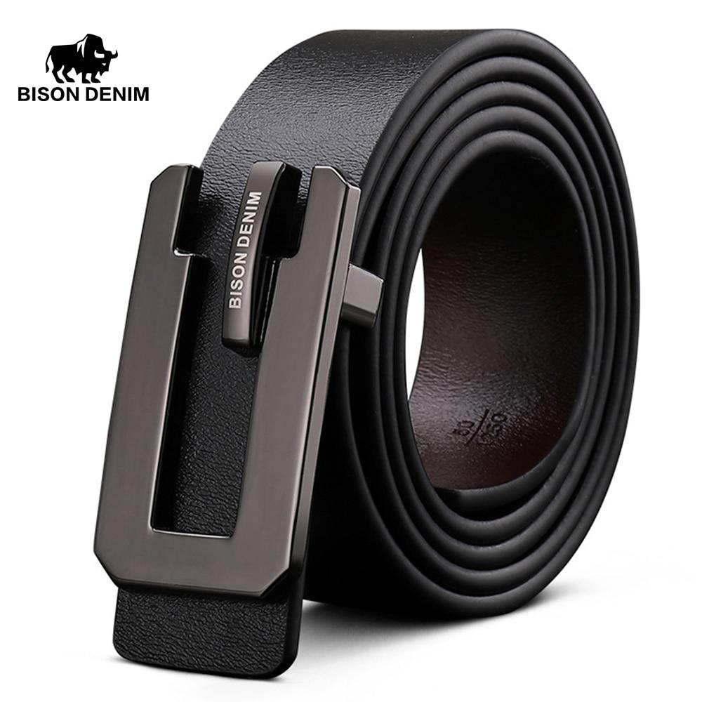 BISON DENIM Brand Cowskin Leather Belt Casual Men Belts Genuine Leather Business Belt Width 3.3cm Jeans Belts Strap N71343