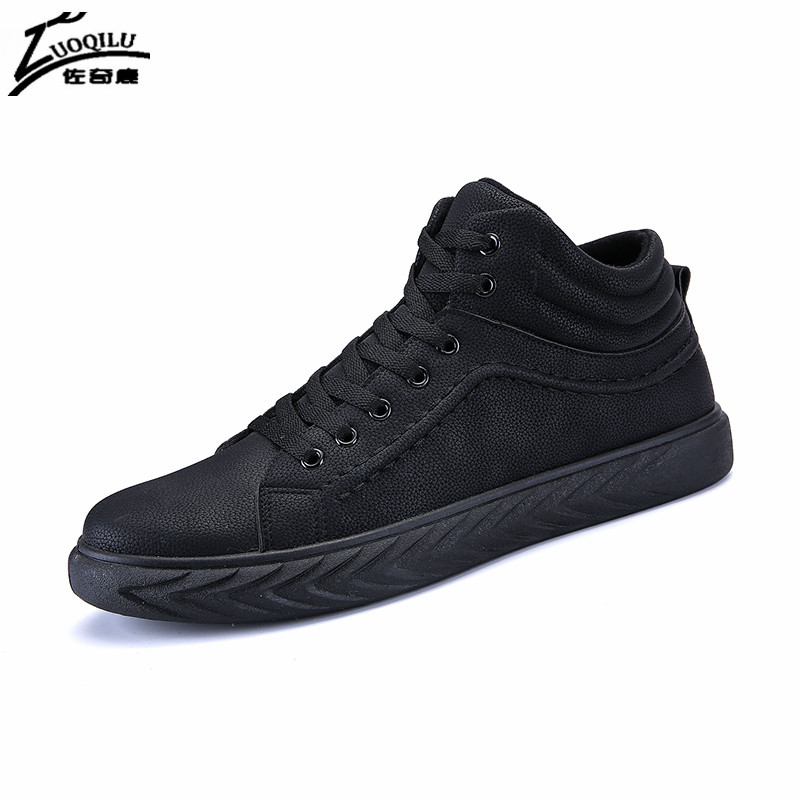 Fashion High Top Men Casual Shoes Black PU Leather Mens Shoes Casual Zapatos Hombre Chaussure Homme Loafers Shoes Men 2018 2016 canvas shoes men casual shoes men high top chaussure homme valentine to waterproof shoes summer boots 4 color unisex d084