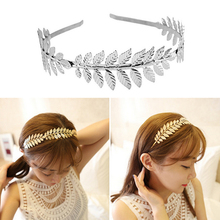 Gold/Silver Plated Metal Leaves Headband Women Elegant Baroque Style Charm Hair Accessory Hairband Hair Accessory stylish gold plated filigree pumpkin car hairband for women