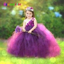 Ragazze Prugna Fiori di Cerimonia Nuziale del Vestito Dal Tutu con la fascia Per Bambini 2019 Fatti A Mano Tulle Costume Bambini Formale Abito di Sfera Regali Di Compleanno