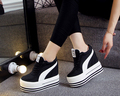 Женщины Повседневная Обувь 2017 Осень Мода холст Клин Обувь Женщины Высота Увеличение Платформа Обувь Zapatillas Deportivas Mujer