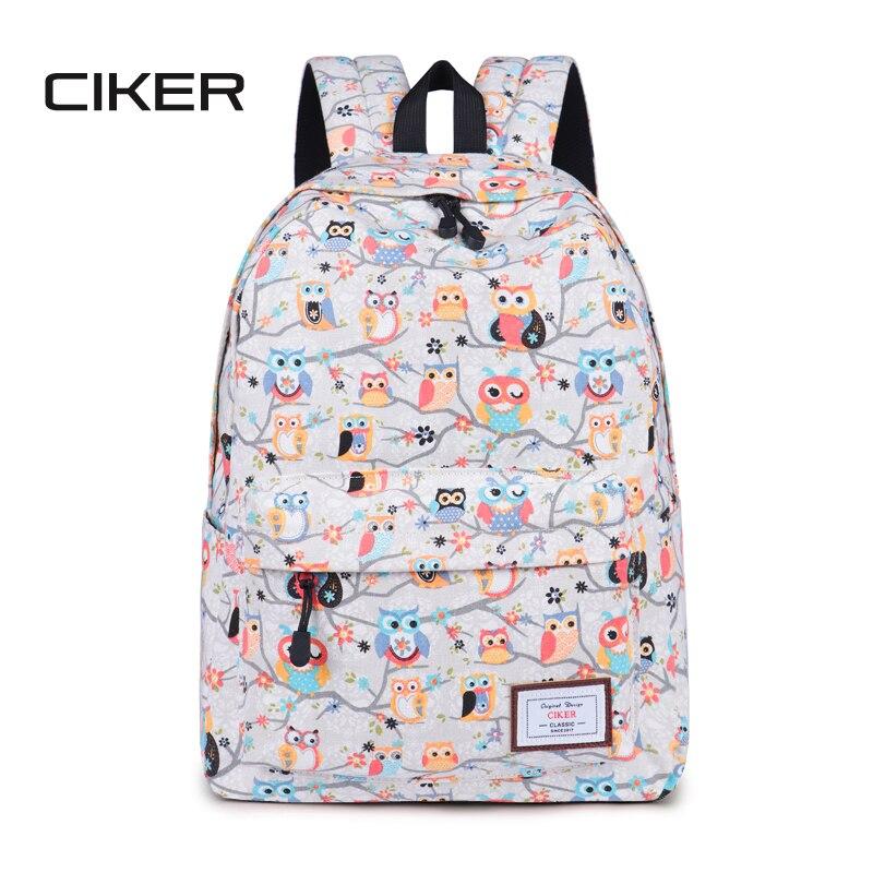 CIKER Cute Owl printing backpack for teenage girls fashion shoulder bag student bookbags women canvas laptop backpacks schoolbag