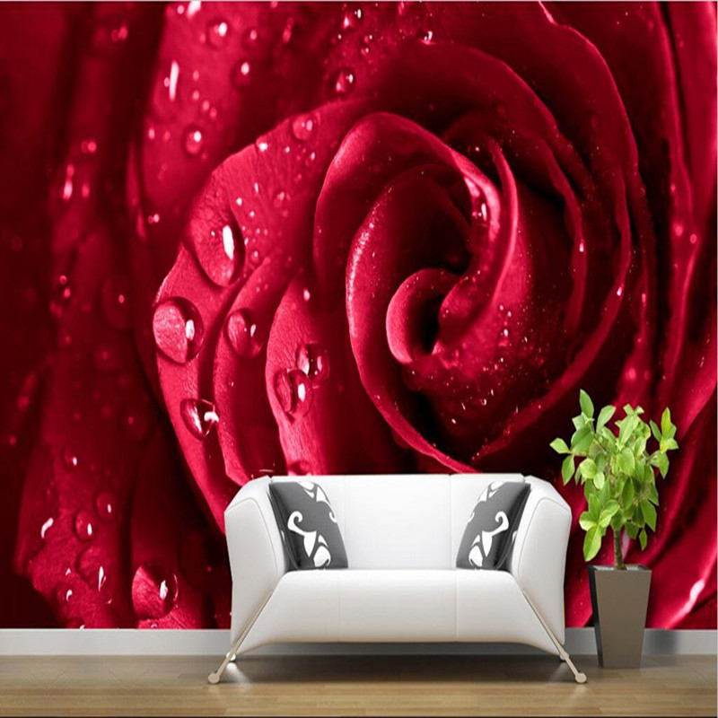 Custom 3D Large Mural Big Red Rose Romantic And Warm Photo Wallpaper For Wedding House Wall Mural 3D Wall Papers Papel De Parede beibehang papel mural arrival romantic warm dandelion wedding decor 3d wallpaper non woven wallpapers mural floral wall pape