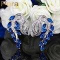 Classic Royal CZ Simulado Diamond Jewelry Elegante Marquise Azul Gota de Cristal de Zircão Cúbico Brincos Grandes Do Parafuso Prisioneiro Para As Mulheres E218