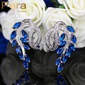Classic Royal CZ Simulated Diamond Jewelry Elegant Marquise Blue Drop Cubic Zircon Crystal Big Stud Earrings For Women E218