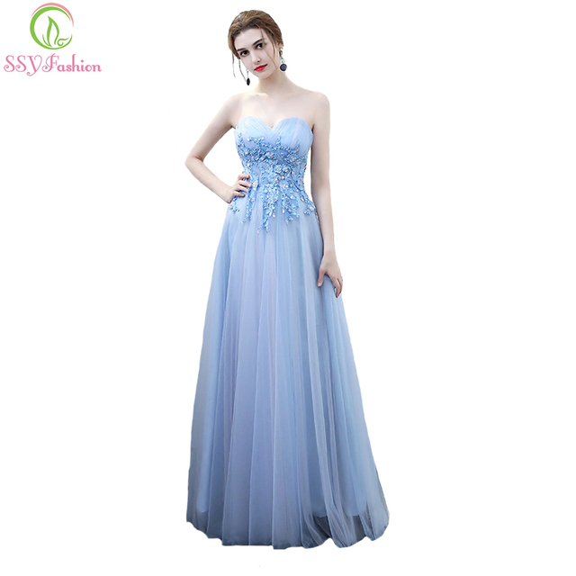 SSYFashion New Bridesmaid Dresses Sweet Banquet Light Blue Strapless ...