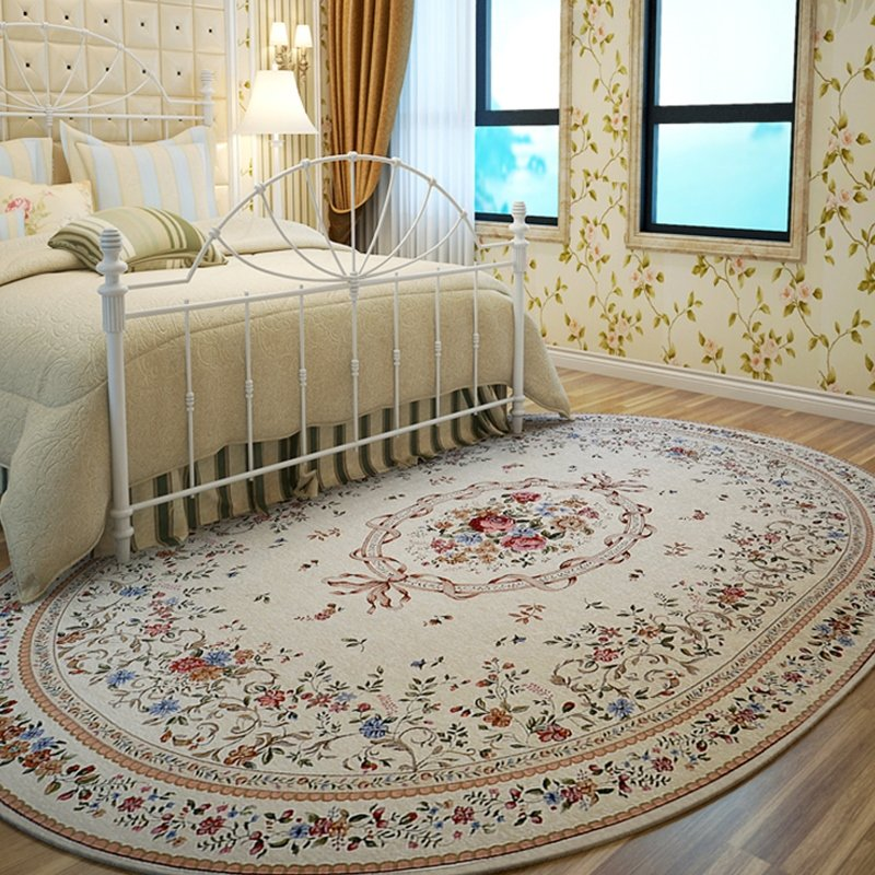 Oval Carpets For Living Room Pastoral Bedroom Carpet Sofa Coffee Table Rug Anti Slip Study Room