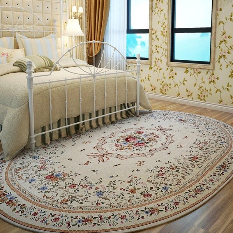 Tapis ovales pour salon chambre pastorale tapis canapé Table basse tapis anti-dérapant salle d'étude tapis de sol enfants Tatami petits tapis