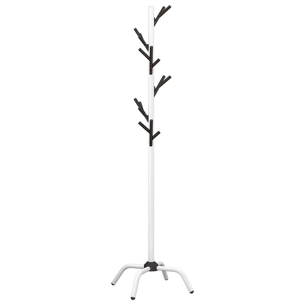 Coat Rack Clothes Tree Hat Hanger Free Standing Simple Fashion Hat and Coat Stand with 6 Hooks 4 Feet Base for Bedroom Office