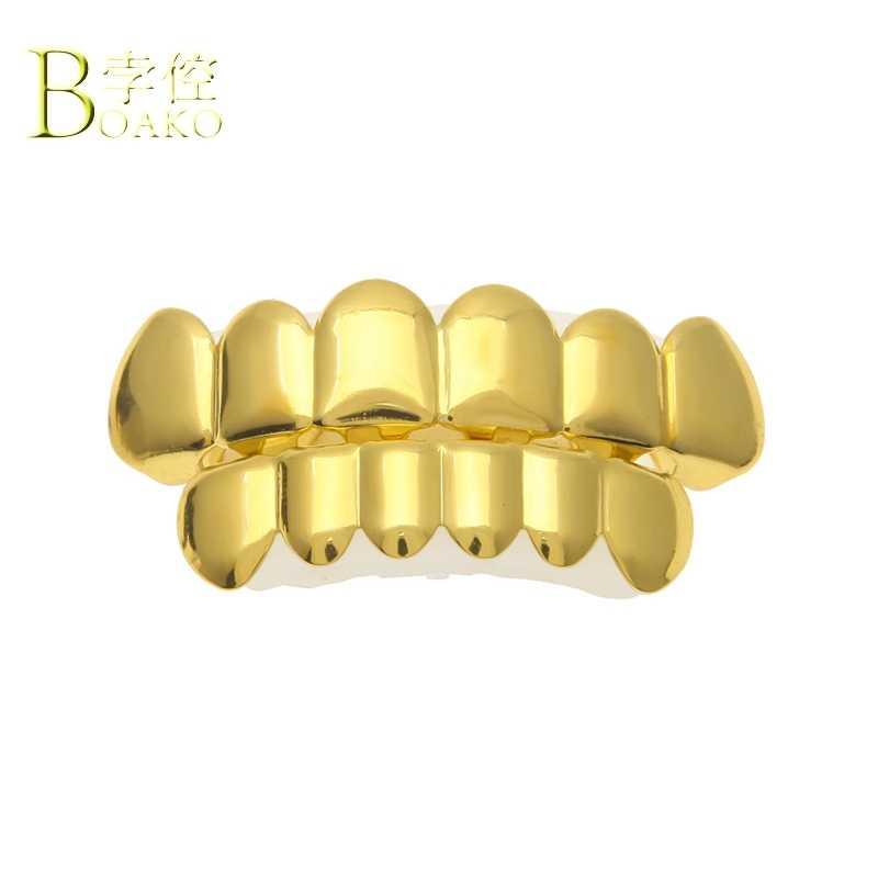 BOAKO Bling Oro Denti Dental Griglie Uomini Grillz Hiphop Denti Grillz Cap Rapper Denti grillz Set Rapper Uomo Iced Out gioielli B5