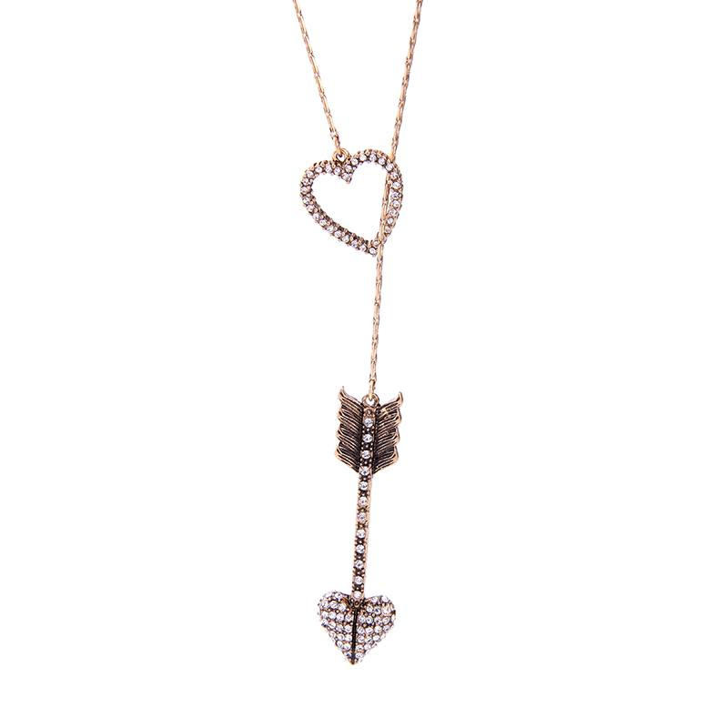 Romantic Style Crystal Arrow Heart Pendant Necklace Brand Fashion Women Jewelry Thin Chain Long Necklace Bijoux Accessories