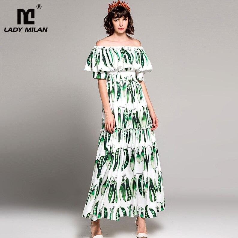 New Arrival Womens Slash Neckline Ruffles Printed High Street Fashion Long Casual Dresses