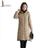 Autumn Coat Women Down Jacket Hooded Thin and Light Warm parka 2019 New Winter Long Women parka Large size Casual Outerwear X530