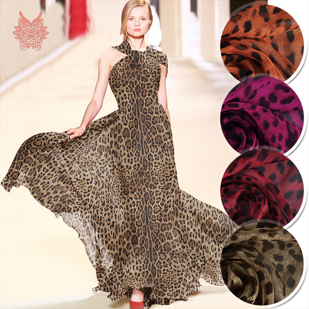 Sexy Brown Red Orange Leopard Print 100 Silk Chiffon Fabric Apparel