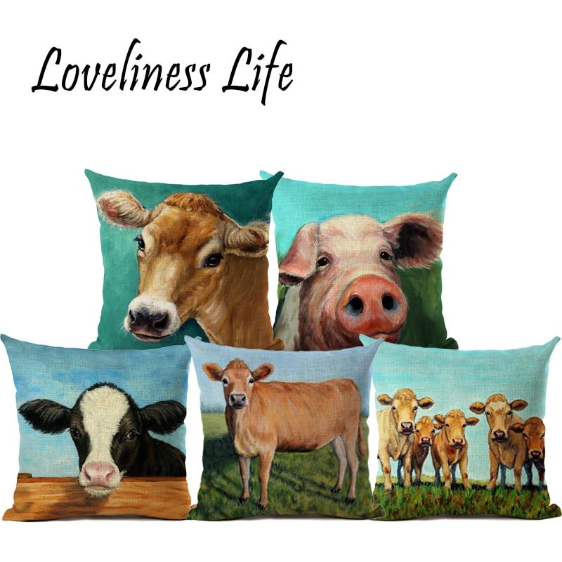 taie d oreiller vache ⑦2017 Chaude Vache/Porc Collection Taie D'oreiller Peinture À L  taie d oreiller vache