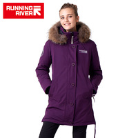RUNNING RIVER Brand Women Mid Thigh Winter Hiking Camping Down Jackets 10Colors 5 Sizes Hooded Outdoor