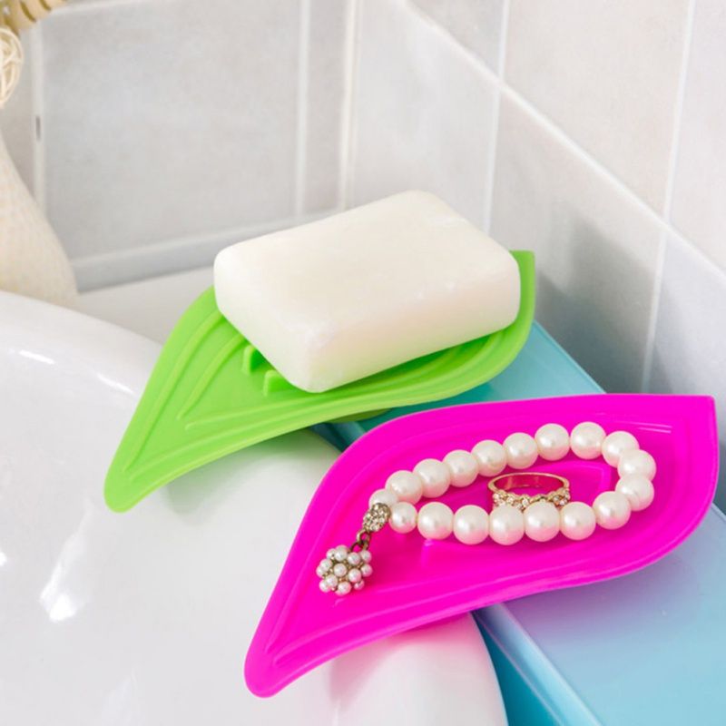 Creative Leaf Shape Soap Box Household Soap Drain Storage Rack Bathroom Non-Slip Soap Box Bathroom Accessories