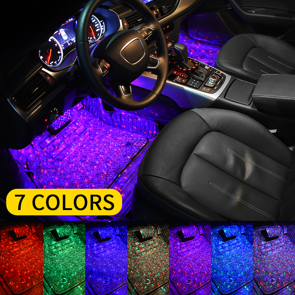 7Colors Car Ambient Foot Star Starry Light Interior Neon Atmosphere Light Music Voice Control USB LED RGB Auto Decorative Lamp
