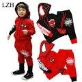 LZH Meninos Roupas Set 2017 Primavera Outono Crianças Conjuntos de Roupas (Hoodies + Pant) traje Para As Crianças Menino Homem Aranha Batman Roupas