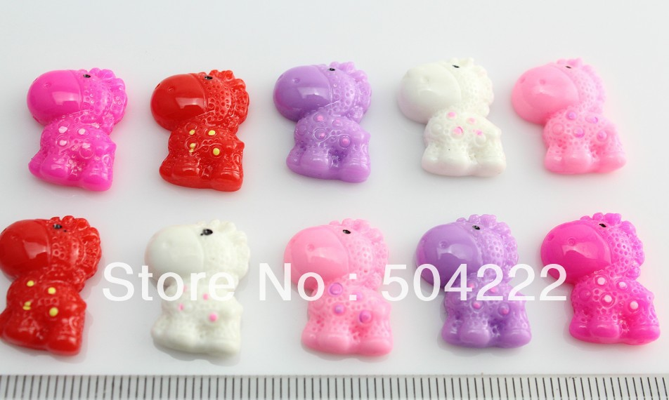 250pcs kawaii happy hippo Resin floral cameo gem flatback Cabochon cab pendants charm beads 19mm -