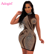 Adogirl Gold Silver Diamonds Sheer Mesh Sexy Club Dress Mock Neck Sleeveless Bodycon Mini Party Dresses Women Fashion Outfits