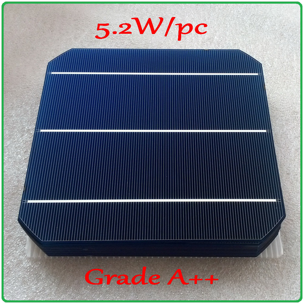 5.2W A++ 156mm monocrystalline Mono solar cell 6x6 +enough PV Ribbon (50m Tab Wire+5m Busbar Wire) DIY 260w PV Mono Solar Panel ...
